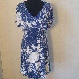 Dressbarn blue & white floral sun dress 8P NWT